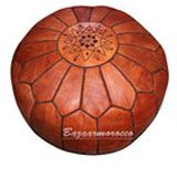 MOROCCAN LEATHER FOOTSTOOL OTTOMANS POUFFE POUF LIGHT BROWN