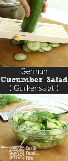 A quick and refreshing German Cucumber Salad recipe, featuring only 4 ingredients! Perfect with a light lunch or served alongside roasted meats! Gluten Free, Vegetarian, and Whole 30 friendly! via @earthfoodandfire