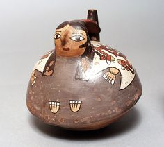 Spout Jar in Form of Female Peru, South Coast, Nasca, 100 B.C. - A.D. 600