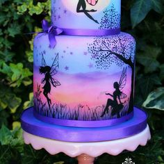 purple fairy cake in silloutte. My Cupcake Addiction by Elise Strachan Gorgeous Cakes, Pretty Cakes, Cute Cakes, Amazing Cakes, Crazy Cakes, Airbrush Cake, Hand Painted Cakes, Fairy Cakes, Disney Cakes