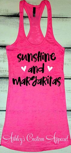 Summer Vacation Tank, Cruise Shirts, Sunshine and Margaritas, Beach Trip Shirt, Day Drinking Shirt, Swimsuit Cover Up, Bridal Party Tank by AshleysCustomApparel on Etsy #norwegiancruisetips