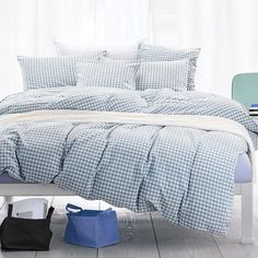 Blue Plaid Washed Cotton Bedding Set