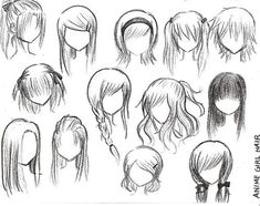 different ways to draw anime hair :)