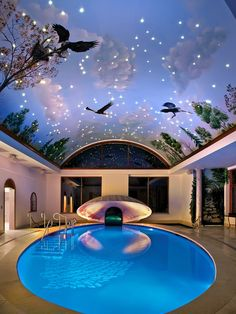 beautiful painted ceiling for pool area