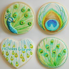 Vintage Peacock Wedding Cookies