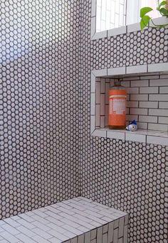 Bathroom Floor Tiles, Bathroom Renos, Tiled Bathrooms, Shower Tiles, Loft Bathroom, Simple Bathroom, Bathroom Shelves, Bathroom Renovations, Black Grout