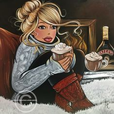 Diamond Painting Curvy Girl and Spiked Hot Cocoa Kit Curvy Girl Diamond Painting Cross Paintings, Easy Paintings, Girl Cartoon, Cartoon Art, Princesa Pin Up, Plus Size Art, Mosaic Pictures, Isabelle, 5d Diamond Painting