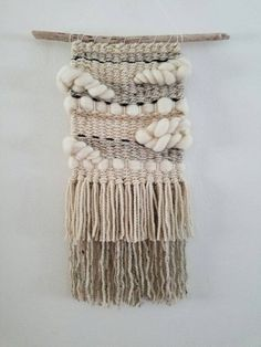 """Items similar to Woven Wall Weaving Macramé Hanging, Tapestry """"Neutral Clouds"""" on Etsy Weaving Textiles, Weaving Art, Tapestry Weaving, Loom Weaving, Hanging Tapestry, Hand Weaving, Weaving Wall Hanging, Hanging Wall Art, Wall Hangings"""