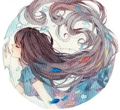 anime Beautiful watercolor wet onto dry radial design.