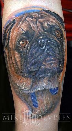 Realistic Pug Dog Face Tattoo