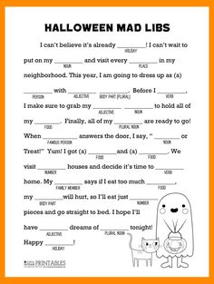 This Halloween Mad Libs printable is perfect for classroom parties or a kids Halloween activity! Halloween Worksheets, Halloween Activities For Kids, Halloween Party Games, Holiday Activities, Holidays Halloween, Halloween Crafts, Halloween Activity Days, Halloween Printable, Youth Activities