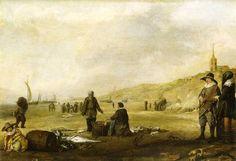 """Hendrick van Anthonissen (1605 - 1656). Het strand van Scheveningen. In de verte de """"Oude Kerk"""" en op de voorgrond het sorteren van de vis. Welgestelde burgers uit Den Haag zijn met hun dochter naar het strand gekomen. Het lijkt alsof de man zijn linkerarm in een draagband ondersteund."""