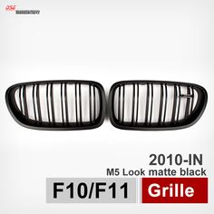 M5 Style ABS Front Grille for BMW 5 Series F10 2010 + 518d 520i 525d 528i M5 Type Double Slat Matte Black Grille