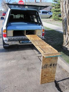 truck camping with easy table--would like to make it prettier, but this is genius