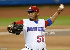 Dominican Republic pitcher Fernando Abad (58) in action during the World Baseball Classic, 1st Round, Pool C game between Canada and Dominican Republic on March 09, 2017, at Marlins Park in Miami, FL.