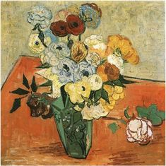Most+Famous+Japanese+Art | Still Life: Japanese Vase with Roses and Anemones