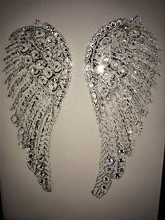 Glitter Picture Angel Wings Glitter wall Art Canvas Picture in White or Black Frame Angel Wings Painting, Angel Wings Wall Decor, Angel Drawing, Angel Art, Diy Wall Art, Diy Art, Wall Art Decor, Image Painting, Diy Painting