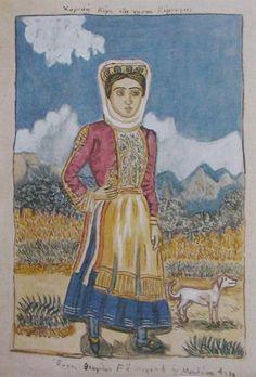 """ΘΕΟΦΙΛΟΣ ΧΑΤΖΗΜΙΧΑΗΛ: """"Χωρική της νήσου Κέρκυρας"""" [1930] Olympus Digital Camera, Corfu, Conceptual Art, Printmaking, Sculpture, Costumes, Fine Art, Traditional, Photography"""