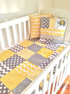 Baby  Crib Quilt  in modern grey and yellow by AlphabetMonkey, $130.00