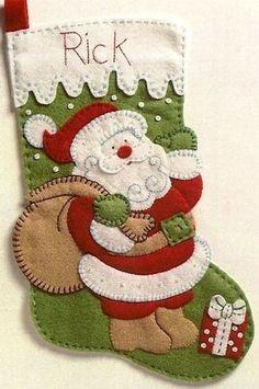 """Bucilla discontinuado Santa Navidad Medias rápido y fácil de fieltro Kit-15"""" Nuevo"""