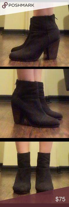 "Rag & Bone booties sz 9 Rag & Bone blackish grey canvas booties sz 9 good condition have light wear a few small scuffs on heels heels measure 3.5"" shaft 6"" rag & bone Shoes Ankle Boots & Booties"