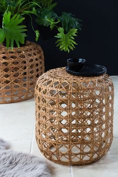 A natural wicker piece of furniture that can be used in many ways including as a stool, side table or display plinth. Shop our woven cane furniture range here. Cane Furniture, Living Room Furniture, Rockett St George, Sustainable Living, Table And Chairs, Wicker, Stylish, Unique, Outdoor Decor