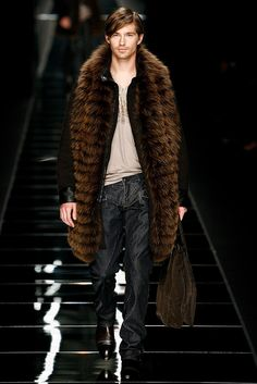 John Richmond Fall / Winter 2011 - Man in Coat and with Fur Scarf