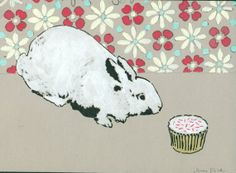 Original Rabbit and Cupcake Painting on Paper by amyriceart
