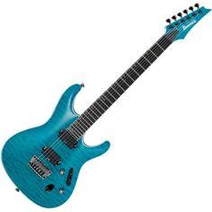 Ibanez S5521Q-TAB Prestige Electric Guitar Transparent Aqua Blue ($2,200) ❤ liked on Polyvore featuring guitars