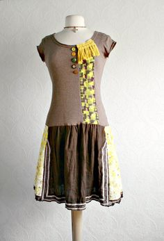 Brown Boho Dress Yellow Floral Upcycled by BrokenGhostClothing via etsy