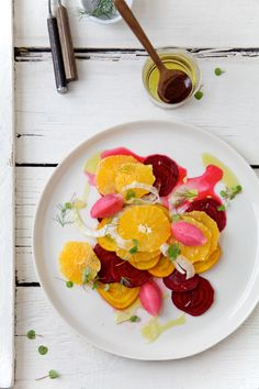 Too pretty to eat! Fennel, orange and beet salad with a grapefruit, pomegranate and champagne sorbet