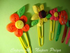 Hi friends....   Today I made some more Bookmarks.... This time I used Colourful Paper Clips as base for my Quilled pieces.... Hope you li...