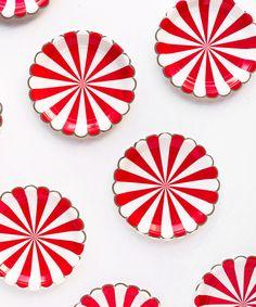 Stripe Holiday Plates