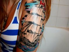 I could totally get this on my arm Half Sleeve Tattoo Stage 2 by on deviantART Tattoos For Women Half Sleeve, Half Sleeve Tattoos Designs, Best Sleeve Tattoos, Tattoo Designs For Women, Women Sleeve, Tattoo Sleeves, Tattoo Girls, Girl Tattoos, Ship Tattoos