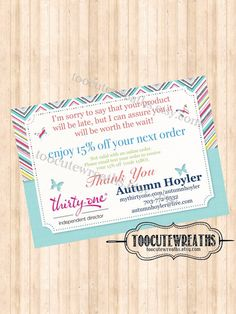 Backorder Postcards - Thirty One Inspired