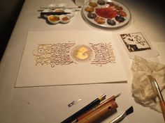 Georgia Angelopoulos. Composition in progress in Greek, Latin and English. Gouache and 23.75 carat gold