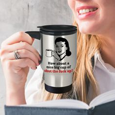 Excited to share the latest addition to my #etsy shop: Shut The Fuck Up Travel Mug, Gift For Him And Her, 14oz Silver Stainless Steel Coffee, Tea Cup, Nice Holiday Present http://etsy.me/2Cz4Yed #housewares #silver #no #metal #shutuptravelmug #shutthefuckupmug #rudetra
