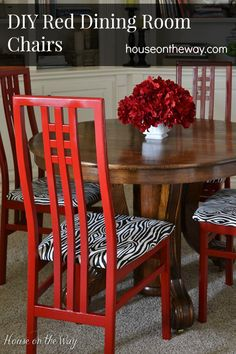 DIY Red Dining Room Chairs from houseontheway.com. Thrift store chairs painted with red spray paint and covered in Faux Bois fabric.