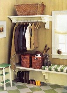 Mud Room - Lockers on one wall, shelf with hanger rod (quilt shelf?) over seat?