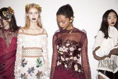 Lululeika Liep, Londone Myers and Ji Young Kwak backstage at the Rodarte FW16 Show (Photo by Oliva Locher for W Magazine).