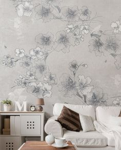 Delicate and elegant wallpaper with a springly touch, ideal for living room and relax areas. #livingroomideas #Tecnografica #wallpaper #ispireme