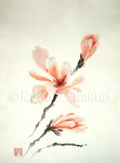 Magnolia tree Black Grey flower flowers bush petals delicate pink Leaves Green GICLEE fine art print of watercolor and ink PAINTING
