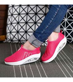 Women's #red slip on #rocker bottom sole shoe sneakers pattern design, lightweight, Air-Sole, Shock absorption sole, casual, leisure sport occasions.