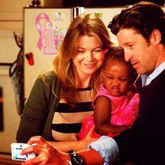 Meredith, Zola, and Derek on Grey's Anatomy