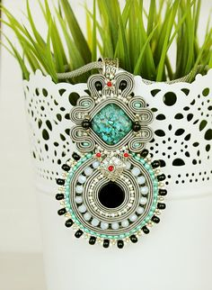 Grey soutache pendant embroidered pendant grey accessory by pUkke