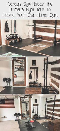 Garage Gym Ideas for your Home Gym Home Gym Garage, Diy Home Gym, Gym Room At Home, Basement Gym, Own Home, Led Garage Lights, Home Gym Design, Gym Decor, Workout Rooms