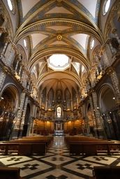 Interior of the basilica at the Monastery of Montserrat - a must see on any trip to Spain.