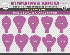10 SVG Paper Flower Templates A01-A10 diy Giant Large Paper
