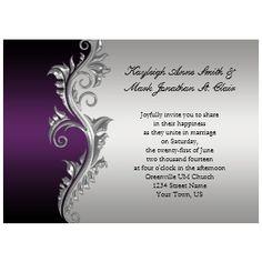 Purple Blossoms Wedding Invitation
