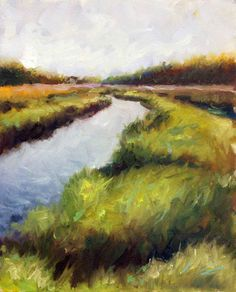 Deep Green and Ochre, Grassy, Marsh, Blue Water Canal Original Painting by Clair Hartmann Rooster Painting, Architecture Art Design, Woodblock Print, Fine Art Gallery, Landscape Art, Painting Inspiration, Art History, Original Paintings, Landscapes